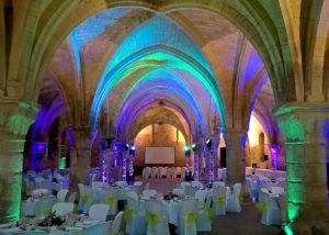Eclairage piste de danse et ambiance à l'abbaye de Vaucelles