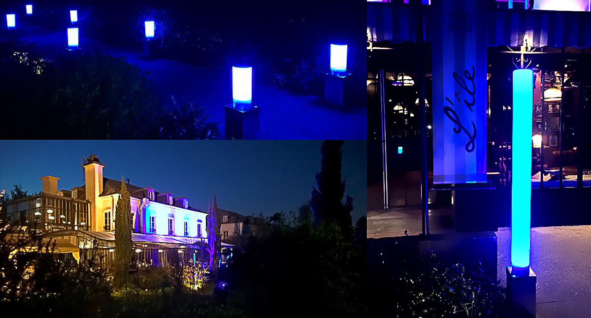 Illumination extérieure du restaurant l'île
